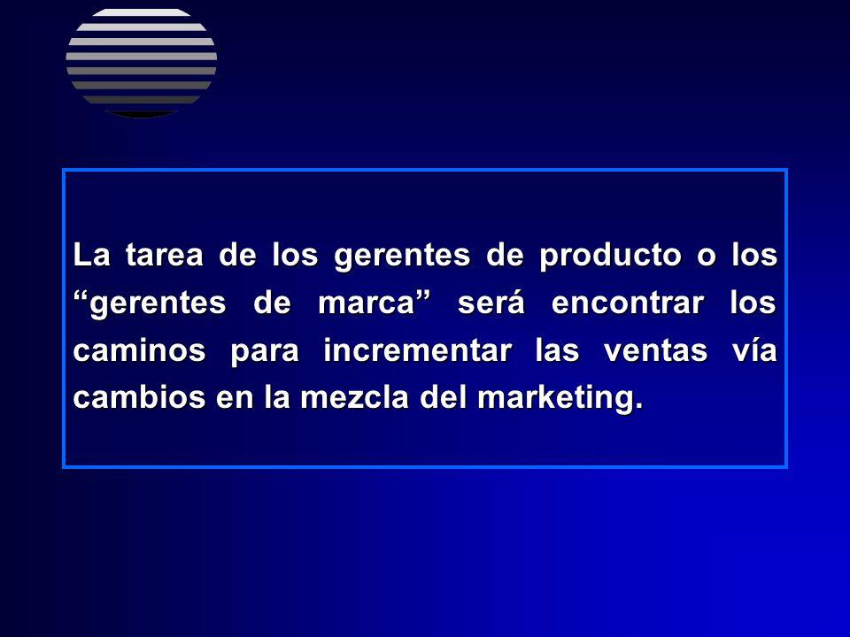 La tarea de los gerentes de producto o los gerentes de marca será encontrar los caminos para incrementar las ventas vía cambios en la mezcla del marketing.