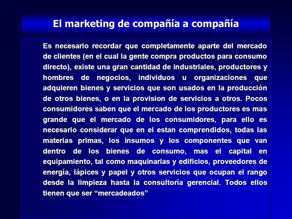El marketing de compañía a compañía