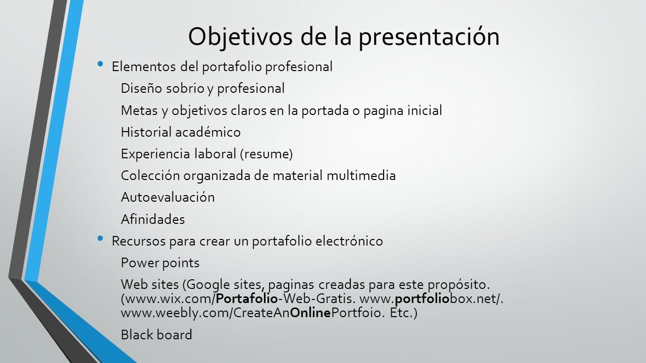 Importancia y uso de un portafolio electrónico profesional - ppt ...