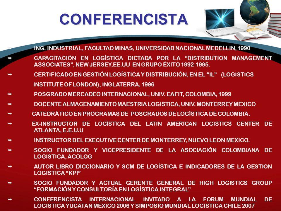 CONFERENCISTA ING. INDUSTRIAL, FACULTAD MINAS, UNIVERSIDAD NACIONAL MEDELLIN, 1990.
