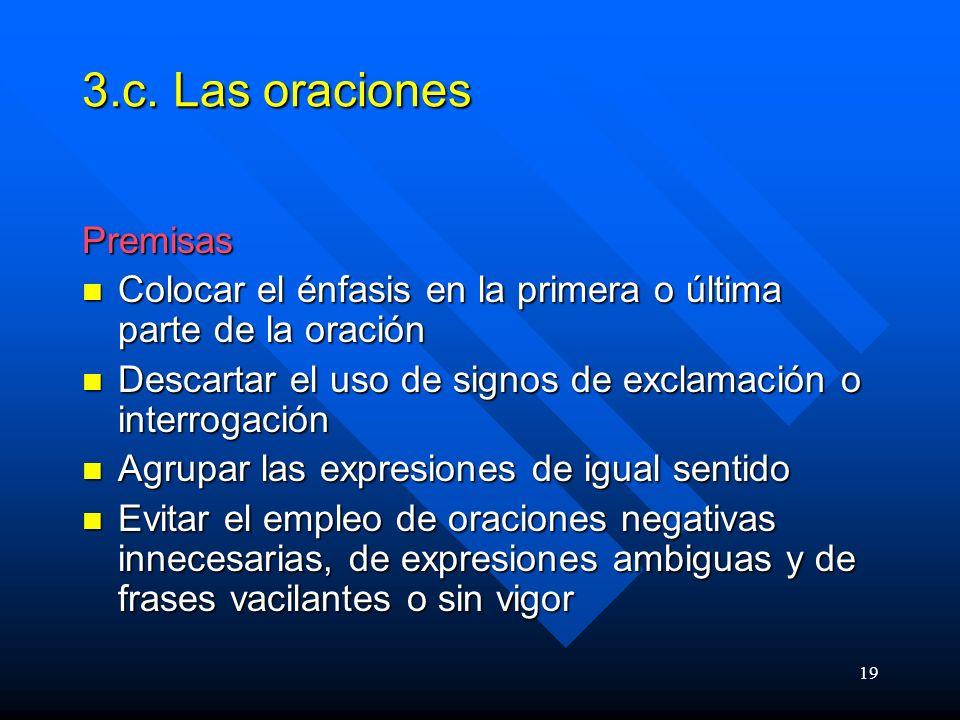3.c. Las oraciones Premisas