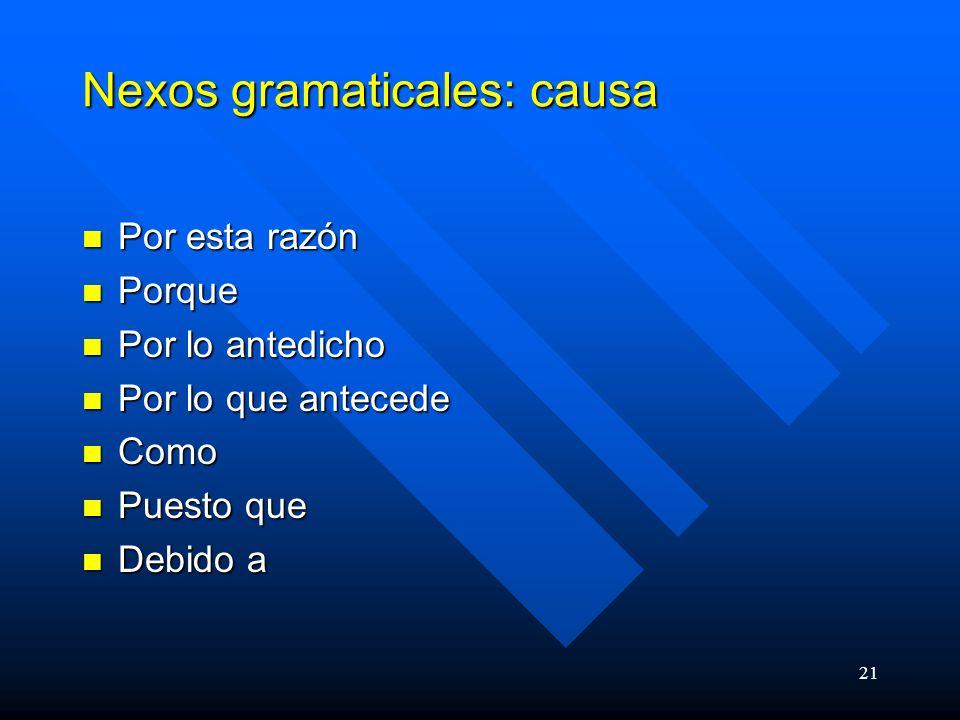 Nexos gramaticales: causa
