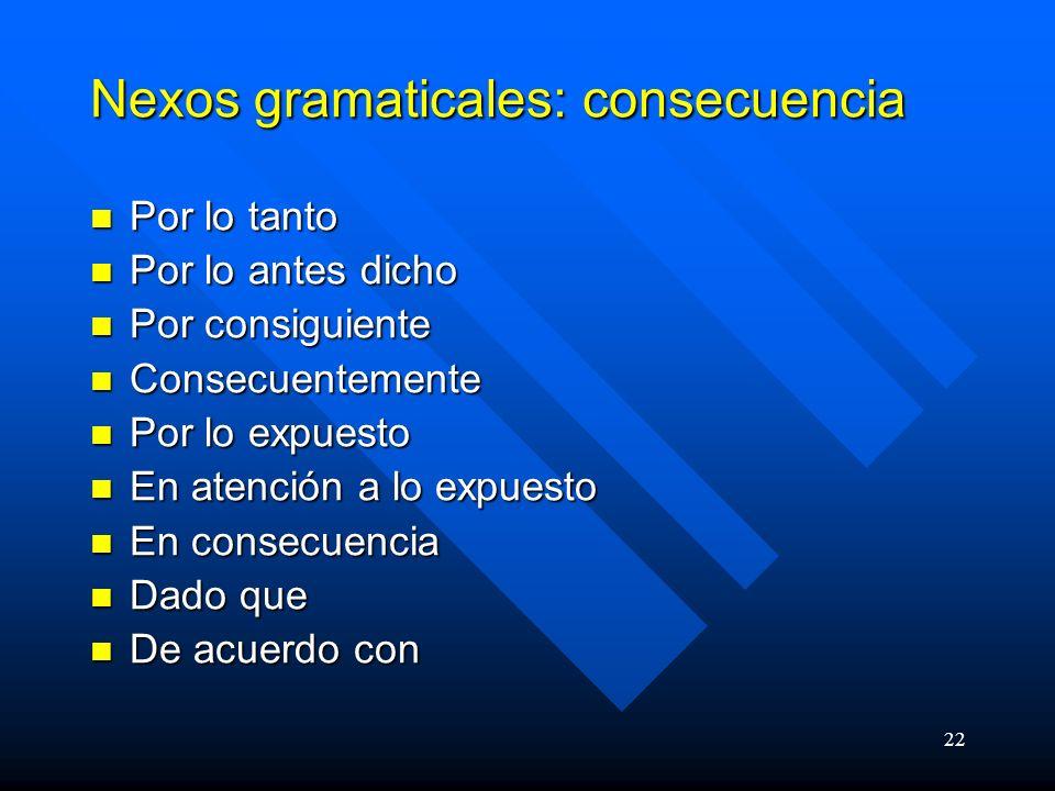 Nexos gramaticales: consecuencia