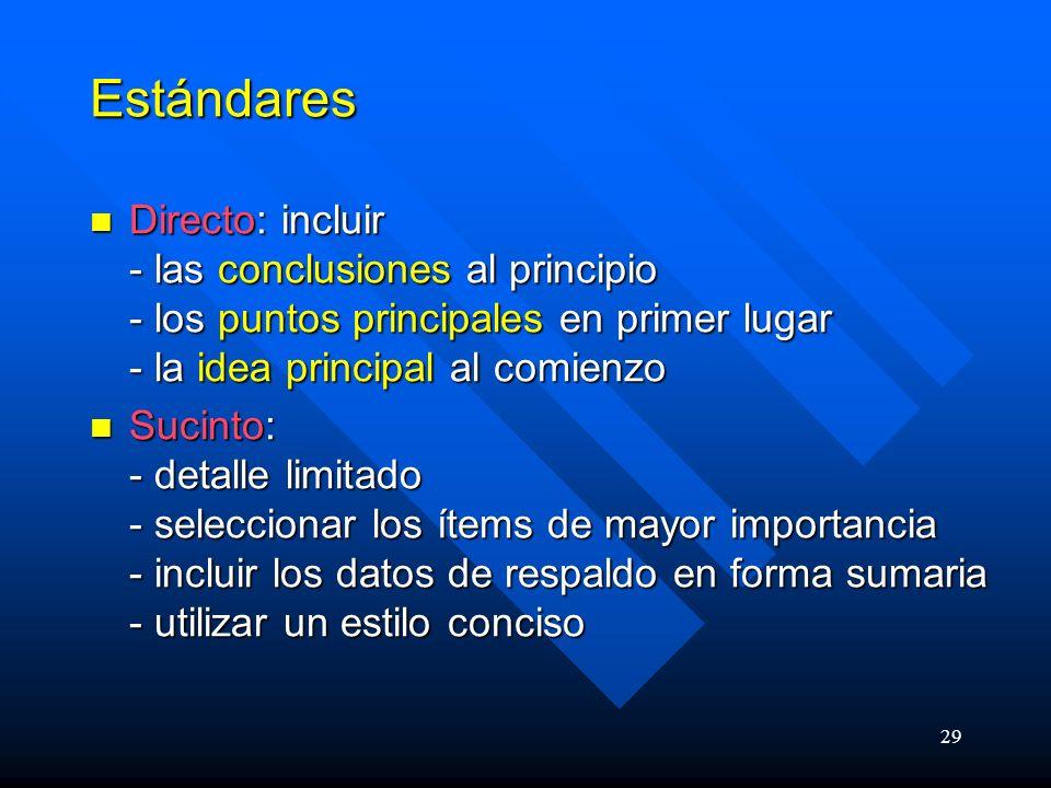 Estándares Directo: incluir - las conclusiones al principio - los puntos principales en primer lugar - la idea principal al comienzo.