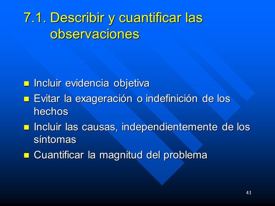 7.1. Describir y cuantificar las observaciones