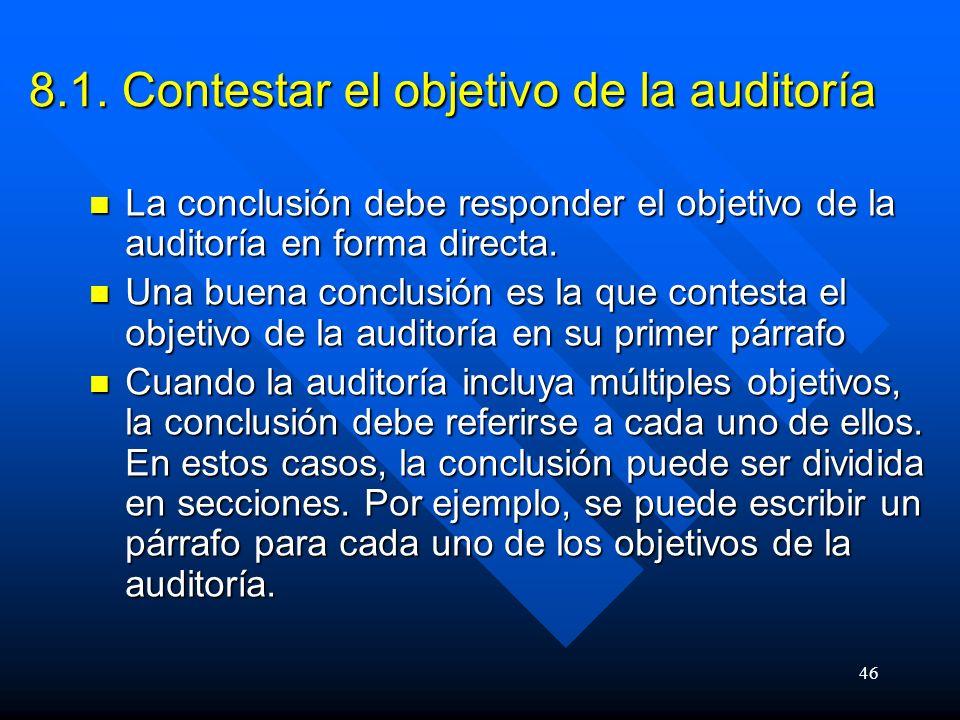 8.1. Contestar el objetivo de la auditoría