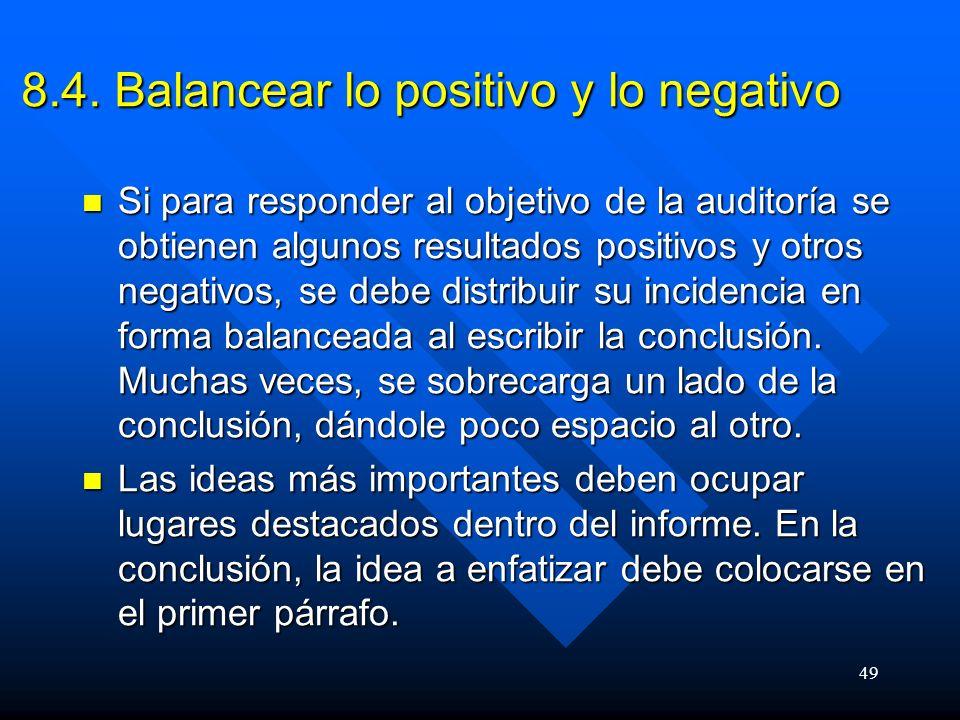 8.4. Balancear lo positivo y lo negativo