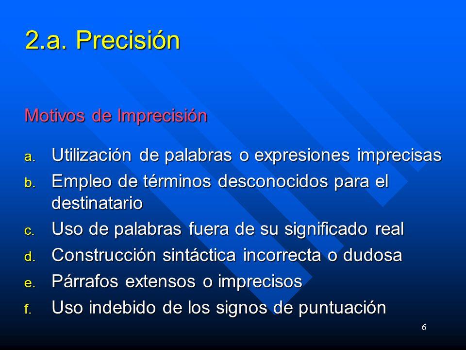 2.a. Precisión Motivos de Imprecisión