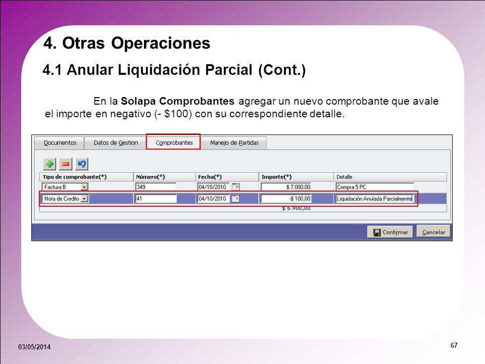 4. Otras Operaciones 4.1 Anular Liquidación Parcial (Cont.)