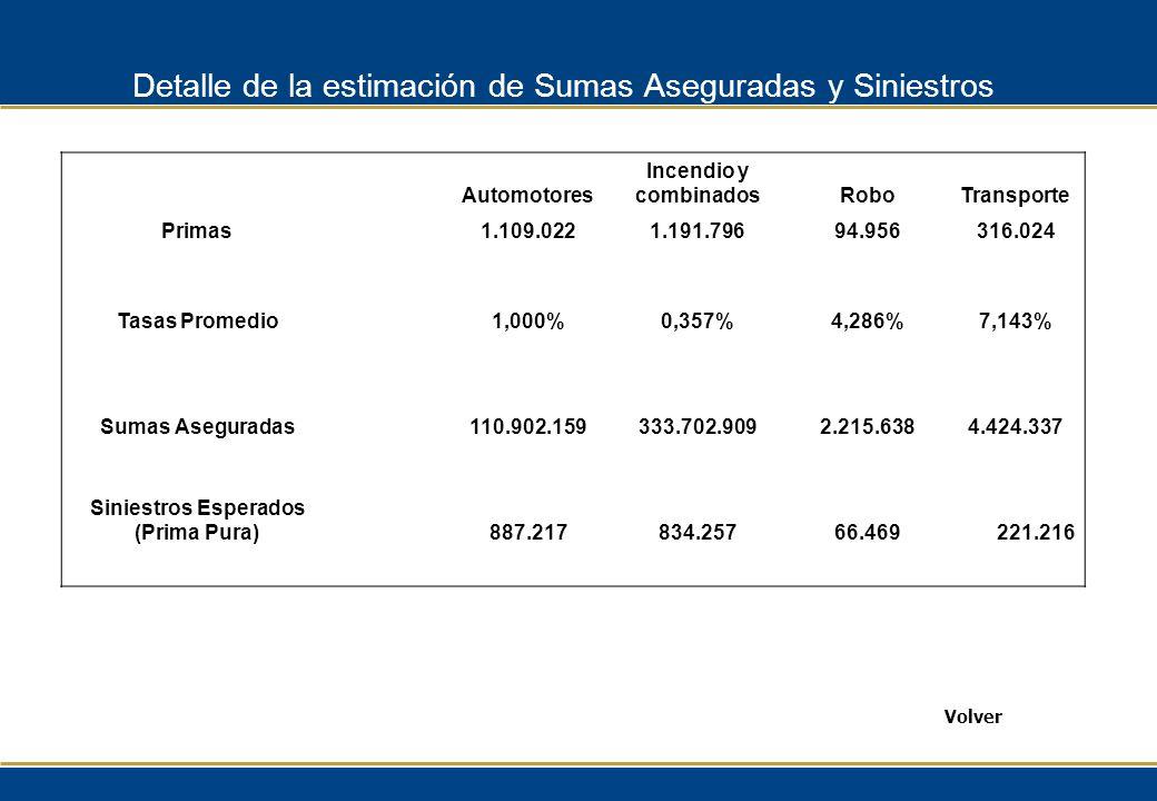 Detalle de la estimación de Sumas Aseguradas y Siniestros