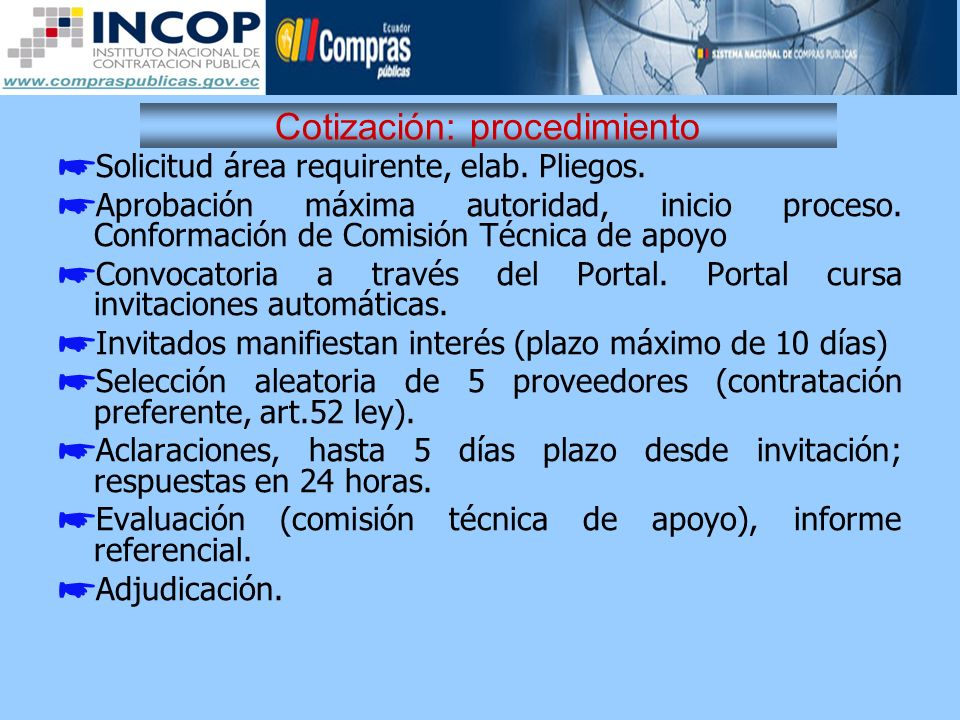 Cotización: procedimiento