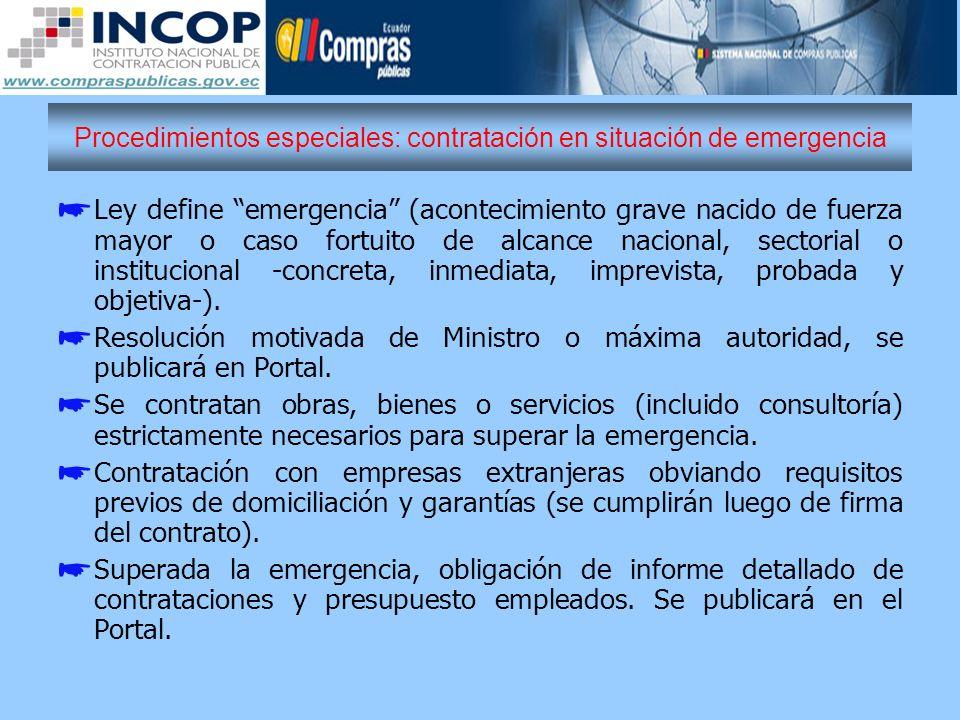 Procedimientos especiales: contratación en situación de emergencia
