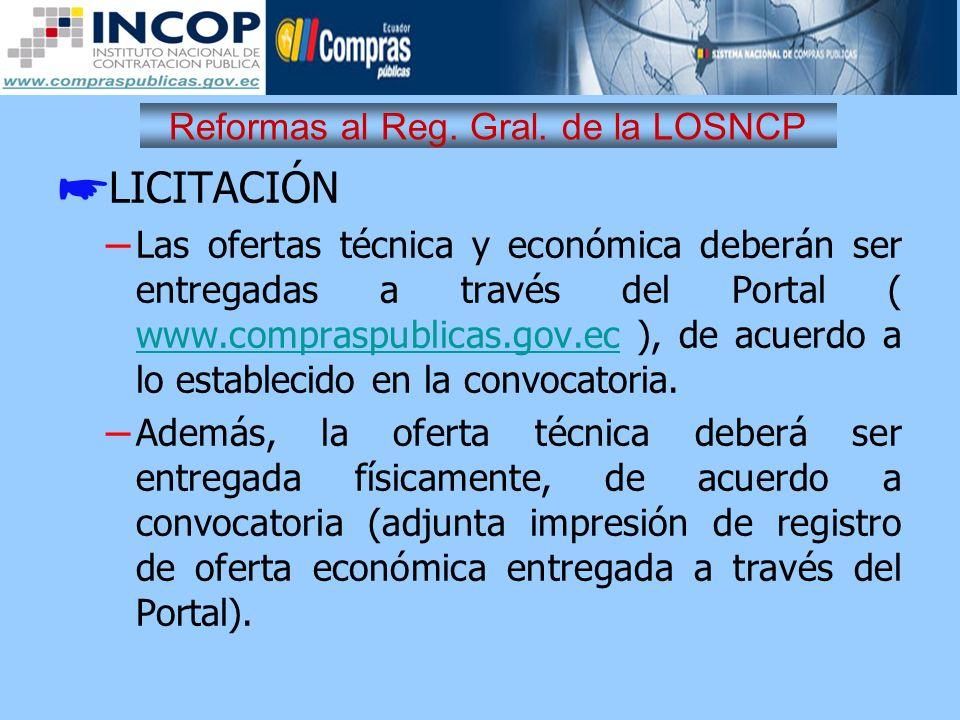 Reformas al Reg. Gral. de la LOSNCP