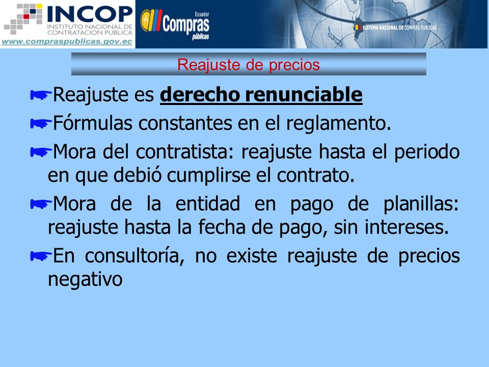 Reajuste es derecho renunciable Fórmulas constantes en el reglamento.