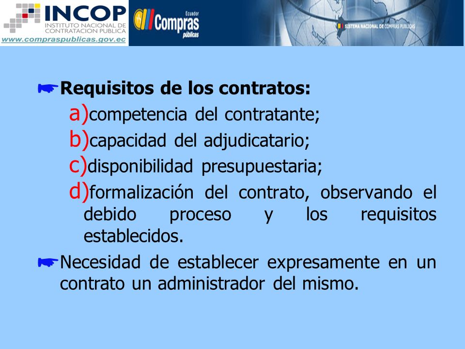 Requisitos de los contratos: