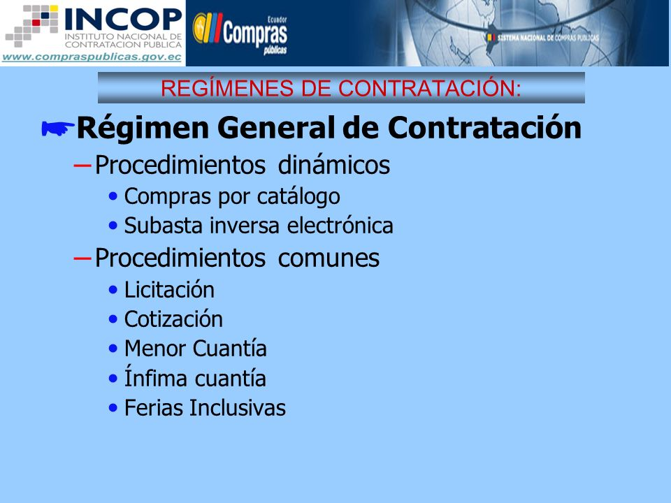 REGÍMENES DE CONTRATACIÓN: