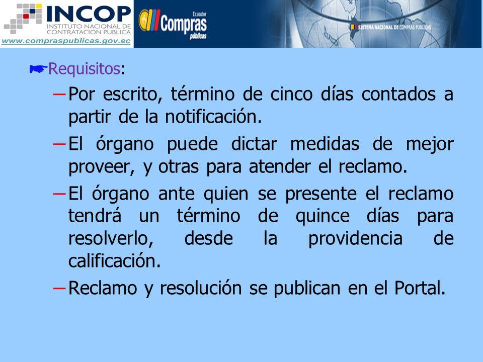 Reclamo y resolución se publican en el Portal.