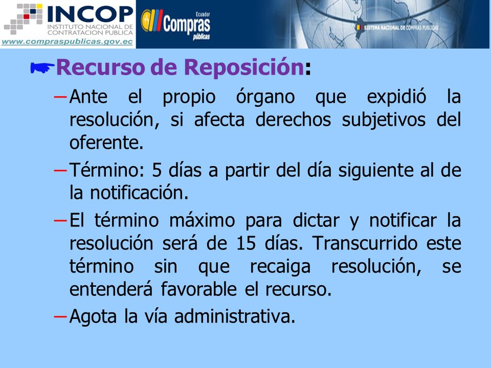 Recurso de Reposición: