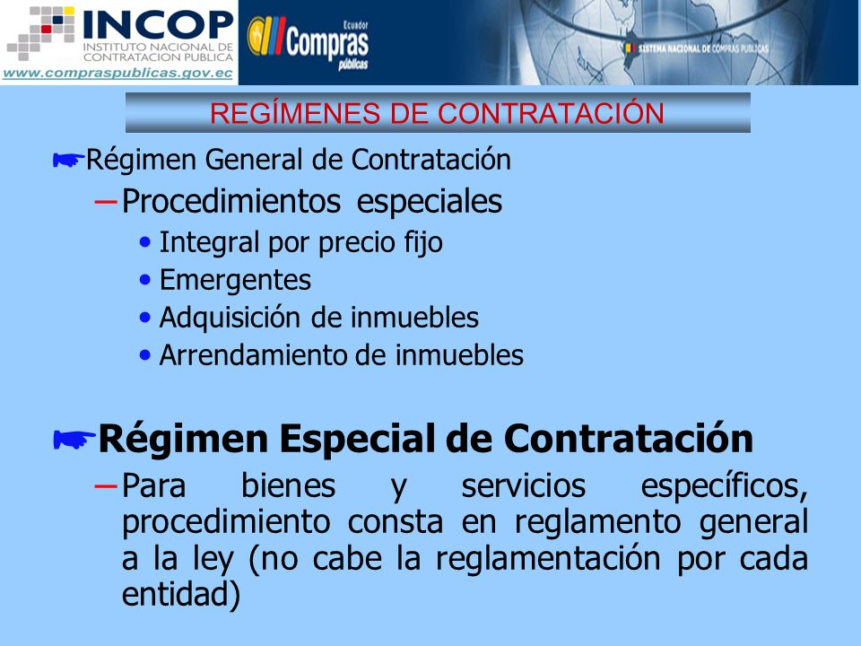REGÍMENES DE CONTRATACIÓN