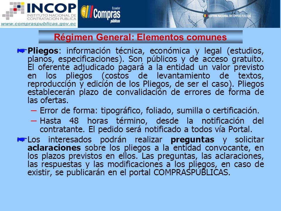 Régimen General: Elementos comunes