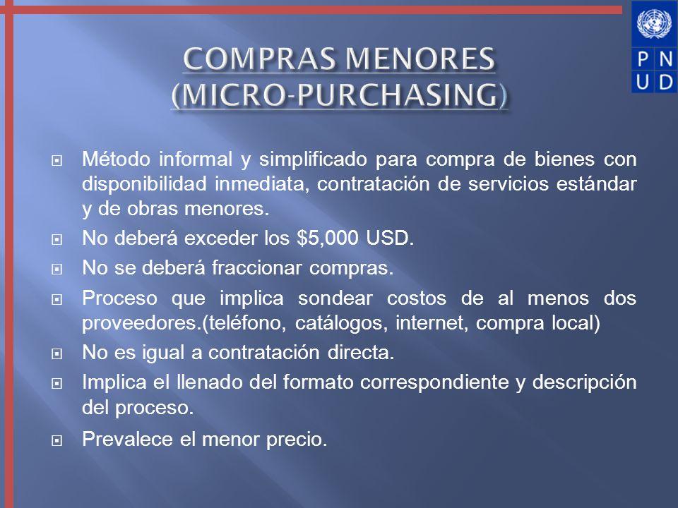 COMPRAS MENORES (MICRO-PURCHASING)