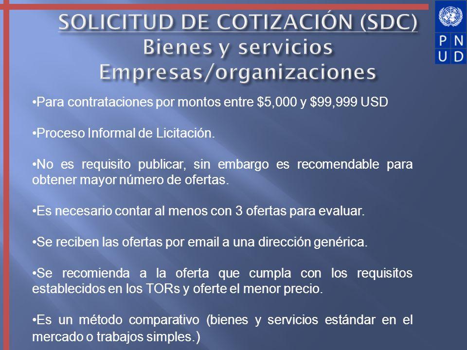 SOLICITUD DE COTIZACIÓN (SDC) Bienes y servicios Empresas/organizaciones