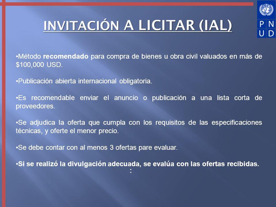 INVITACIÓN A LICITAR (IAL)