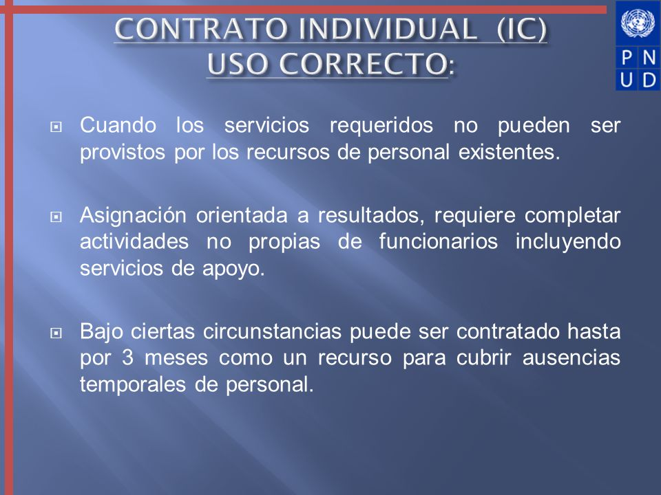 CONTRATO INDIVIDUAL (IC) USO CORRECTO: