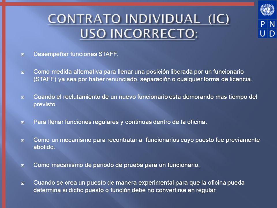 CONTRATO INDIVIDUAL (IC) USO INCORRECTO: