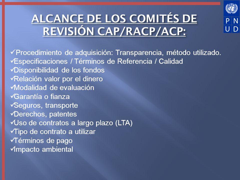 ALCANCE DE LOS COMITÉS DE REVISIÓN CAP/RACP/ACP: