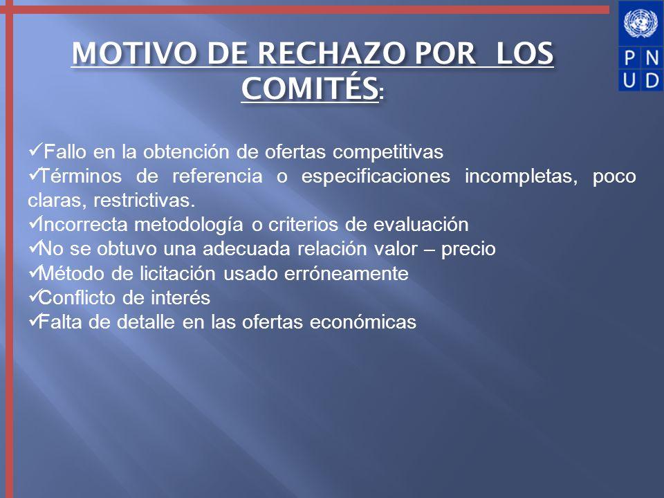 MOTIVO DE RECHAZO POR LOS COMITÉS: