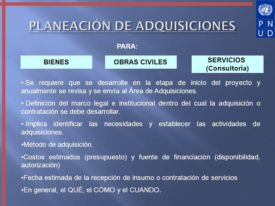 PLANEACIÓN DE ADQUISICIONES