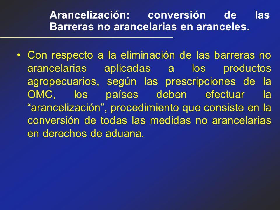Arancelización: conversión de las Barreras no arancelarias en aranceles.