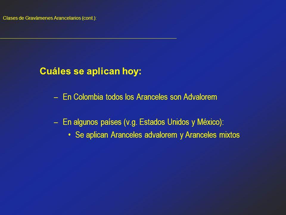 Clases de Gravámenes Arancelarios (cont.):