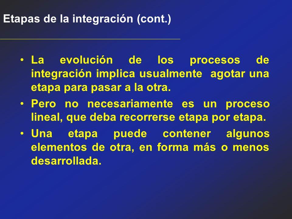 Etapas de la integración (cont.)