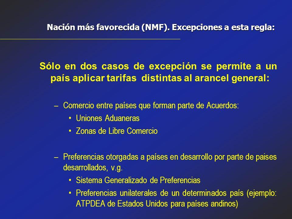 Nación más favorecida (NMF). Excepciones a esta regla: