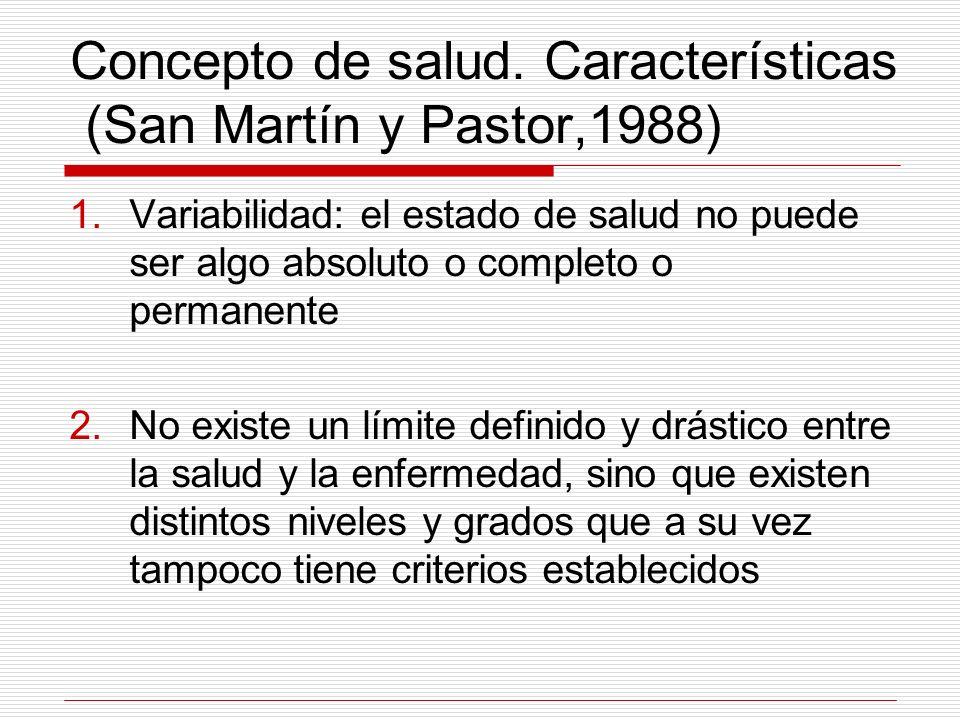 Concepto de salud. Características (San Martín y Pastor,1988)