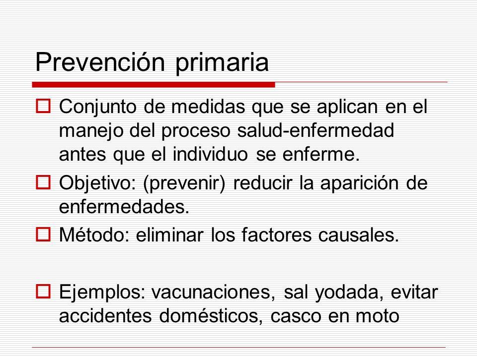 Prevención primaria Conjunto de medidas que se aplican en el manejo del proceso salud-enfermedad antes que el individuo se enferme.