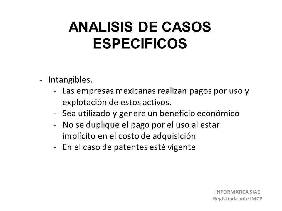 ANALISIS DE CASOS ESPECIFICOS INFORMATICA SIAE Registrada ante IMCP