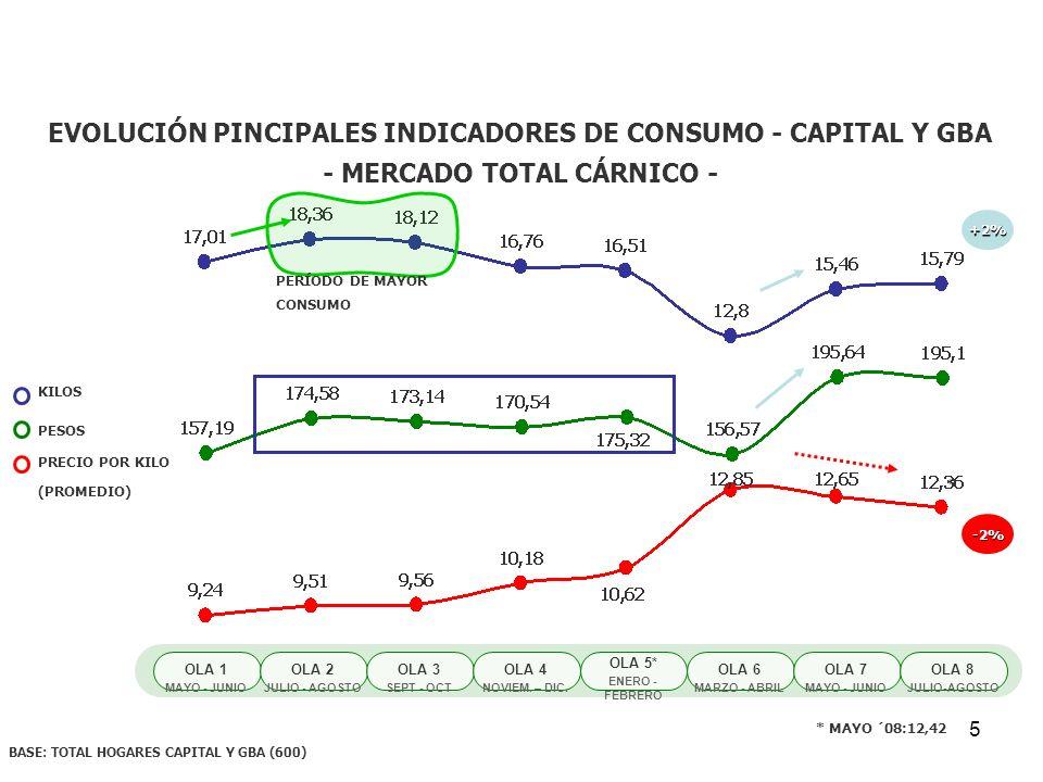 EVOLUCIÓN PINCIPALES INDICADORES DE CONSUMO - CAPITAL Y GBA
