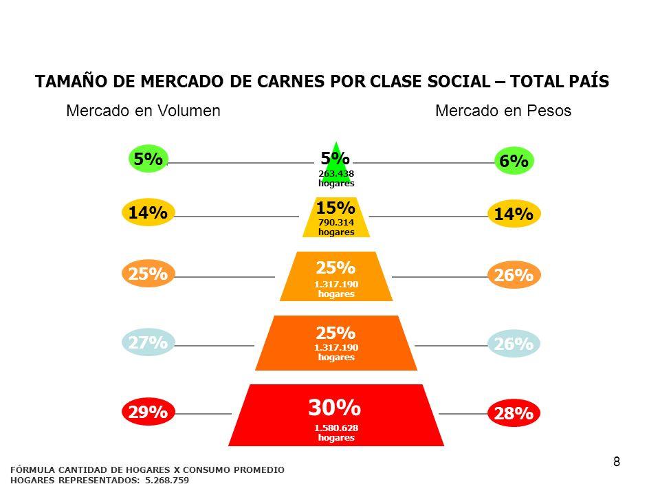 TAMAÑO DE MERCADO DE CARNES POR CLASE SOCIAL – TOTAL PAÍS