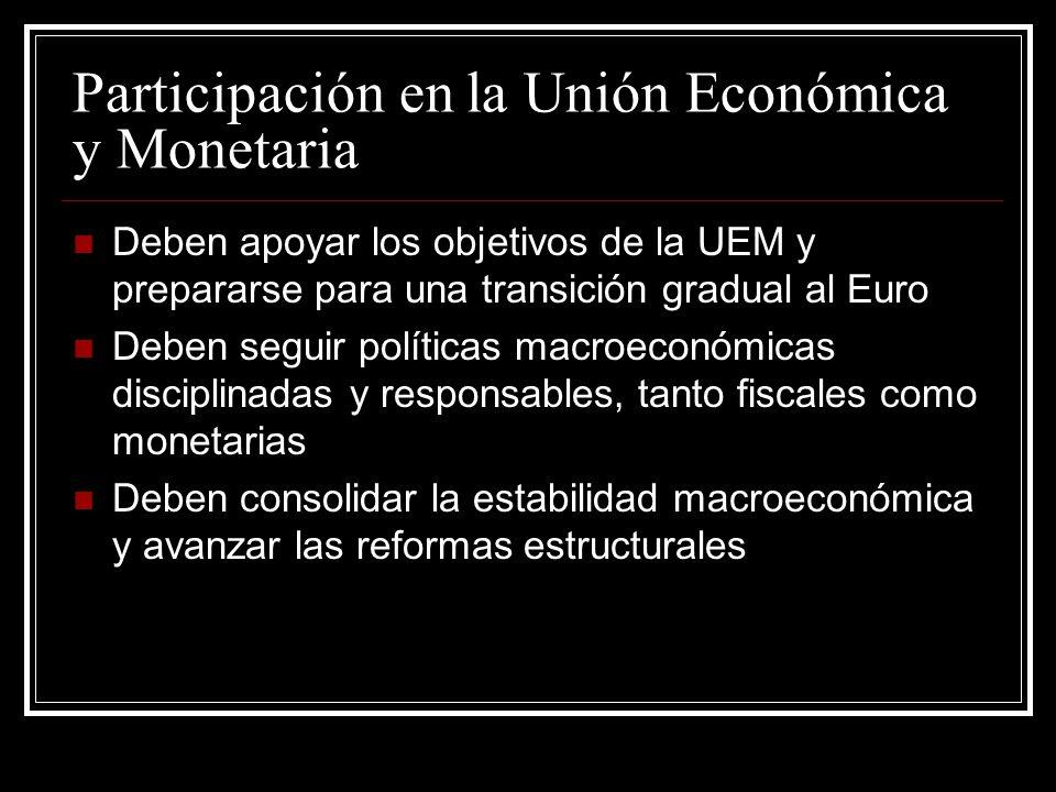 Participación en la Unión Económica y Monetaria