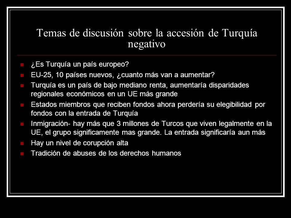 Temas de discusión sobre la accesión de Turquía negativo