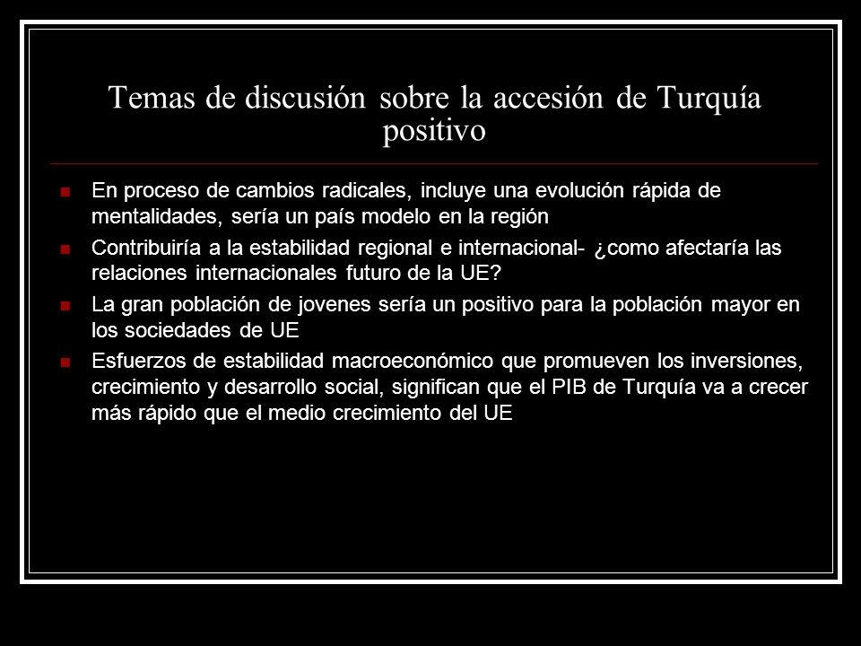 Temas de discusión sobre la accesión de Turquía positivo