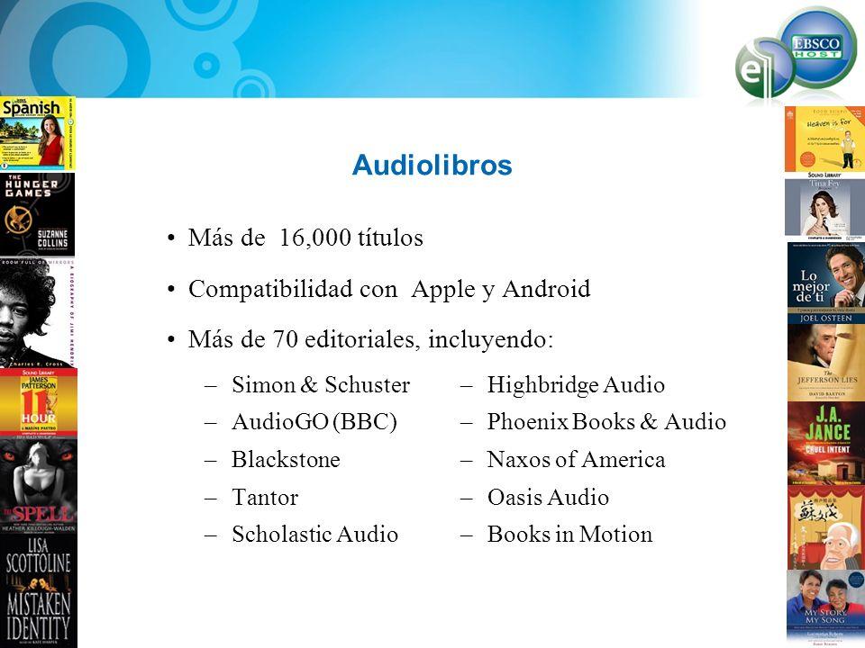 Audiolibros Más de 16,000 títulos Compatibilidad con Apple y Android