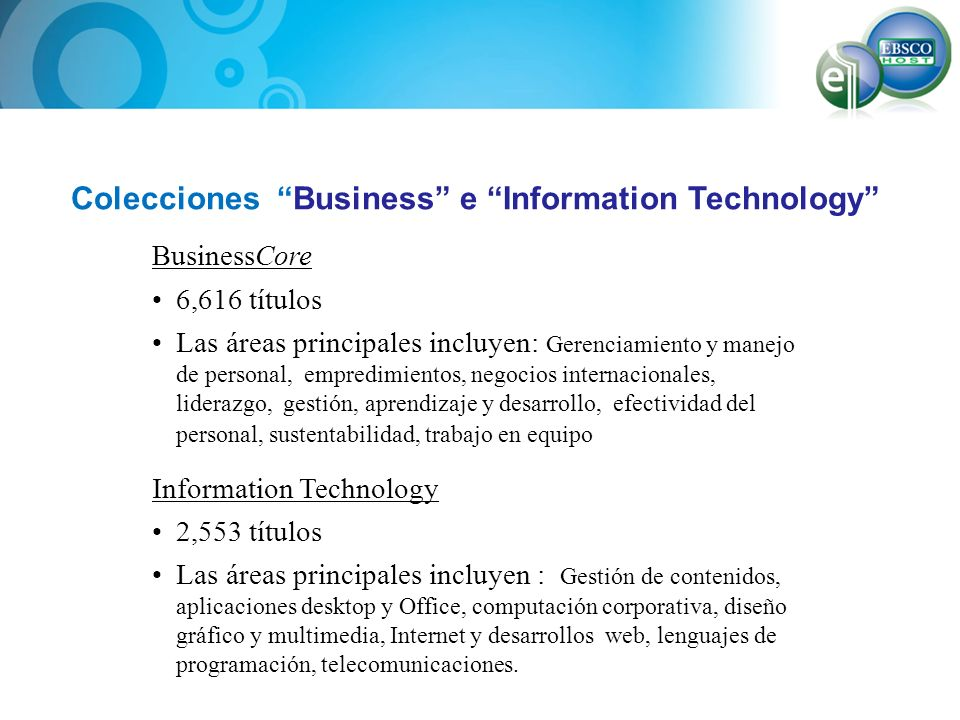 Colecciones Business e Information Technology