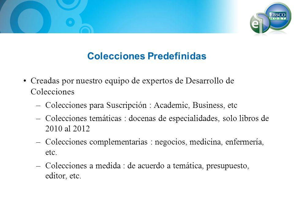 Colecciones Predefinidas