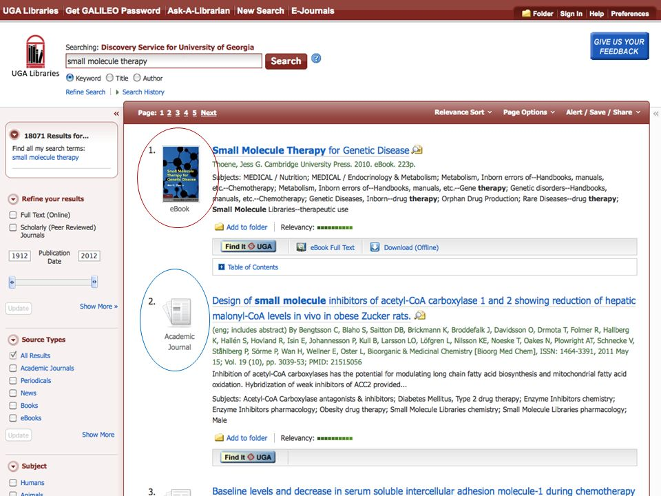 Integrated search results showing eBook and journal results