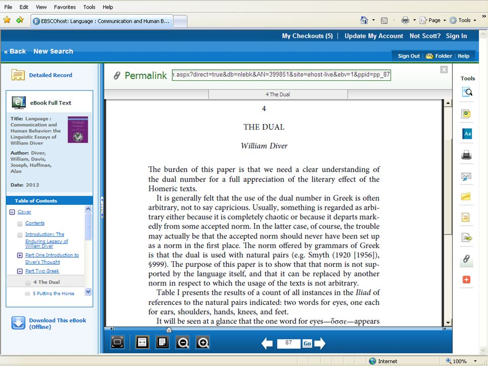 eBook viewer. Multiple Tools options to the right: search within title; note taking; embedded dictionary; print/save PDF and email PDF; add to Favorites; multiple citation formats and citation export; permalink to the page/chapter level as shown at the top; and social networking options