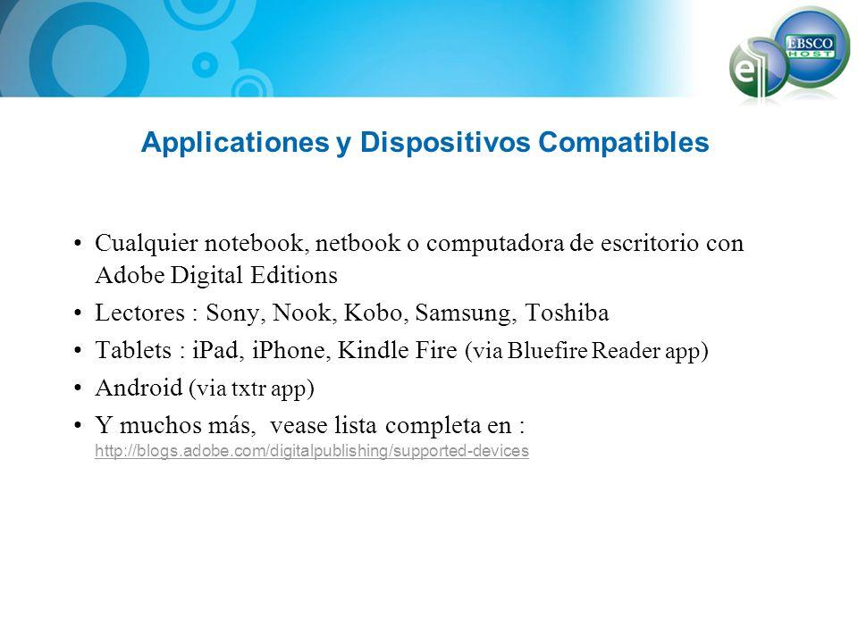 Applicationes y Dispositivos Compatibles